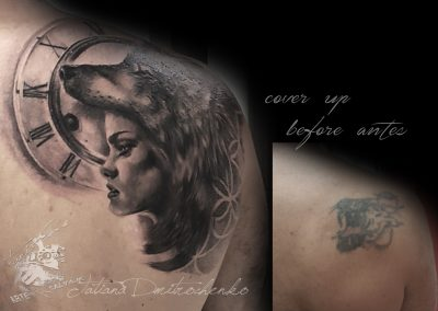 tattoo cover mujer loba